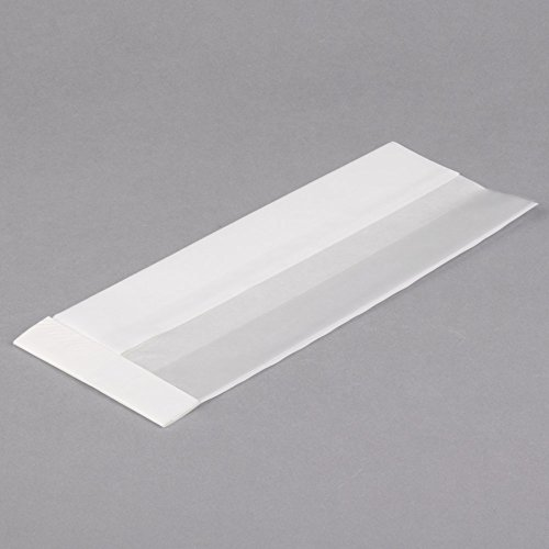 TableTop King Bagcraft Papercon 300092 4 1/4'' x 2 3/4'' x 11 3/4'' Dubl View ToGo! White Extra-Large Window Sandwich / Bakery Bag - 500/Case by TableTop King (Image #1)
