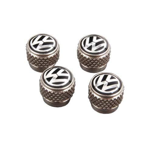 Genuine VW Nickel Plated Wheel Tire Aluminium Valve Stems Caps 4 pcs 000071215