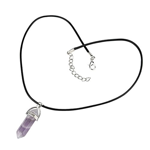 2018 Hot! Stone Pendant Necklace,Leewos Natural Gemstones Hexagonal Pointed Necklaces Beads Jewelry Gift Set (Light purple)