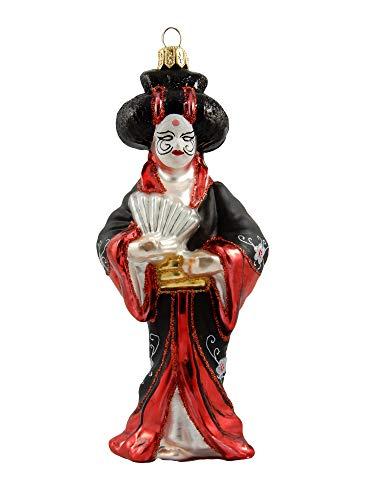Japanese Japan Asian Geisha Girl with Kabuki Mask Polish Glass Christmas Ornament Travel Souvenir
