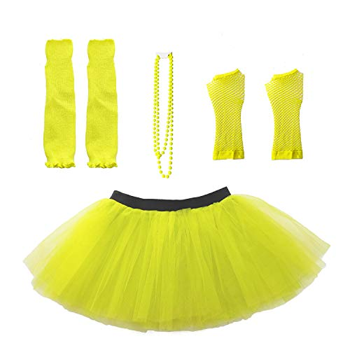 Dreamdanceworks 80s Fancy Costume Set - TUTU & LEG WARMERS & FISHNET GLOVES & BEADS (Neon Yellow) OneSize -