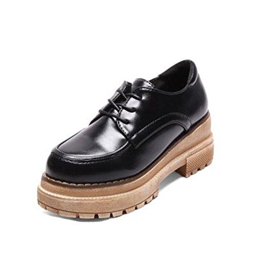 Giy Femmes Classique Rétro Plate-forme Mocassins Bout Rond Lacets Jusquà Mocassins Chunky Bloc Talon Robe Oxford Chaussures Noir