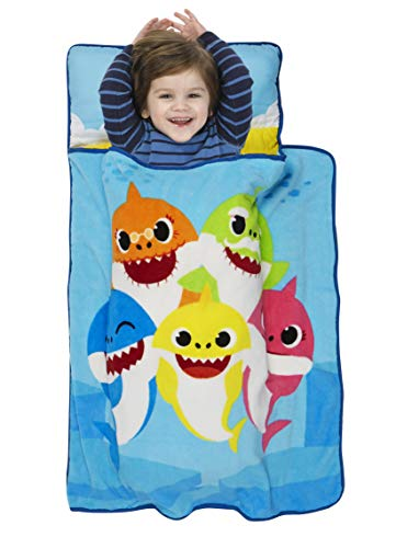 Baby Shark Toddler Nap Mat - Includes Pillow and Fleece Blanket - Great for Boys and Girls Napping at Daycare, Preschool, Or Kindergarten - Fits Sleeping Toddlers and Young Children