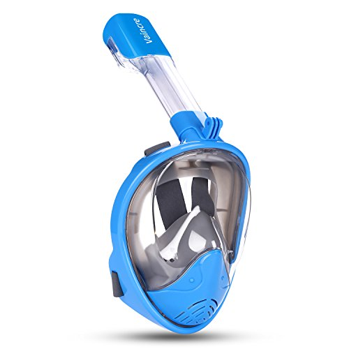 Vaincre 180° Full Face Snorkel Mask Panoramic View Anti-Fog,Anti-Leak Snorkeling Design with Adjustable Head Straps-See Larger Viewing Area Than Traditional Masks for Adults Youth(Blue, S/M) ()
