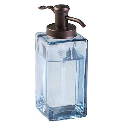mDesign Glass Traditional Soap Dispenser Pump for Kitchen, Bathroom Vanities - Navy Blue/Bronze