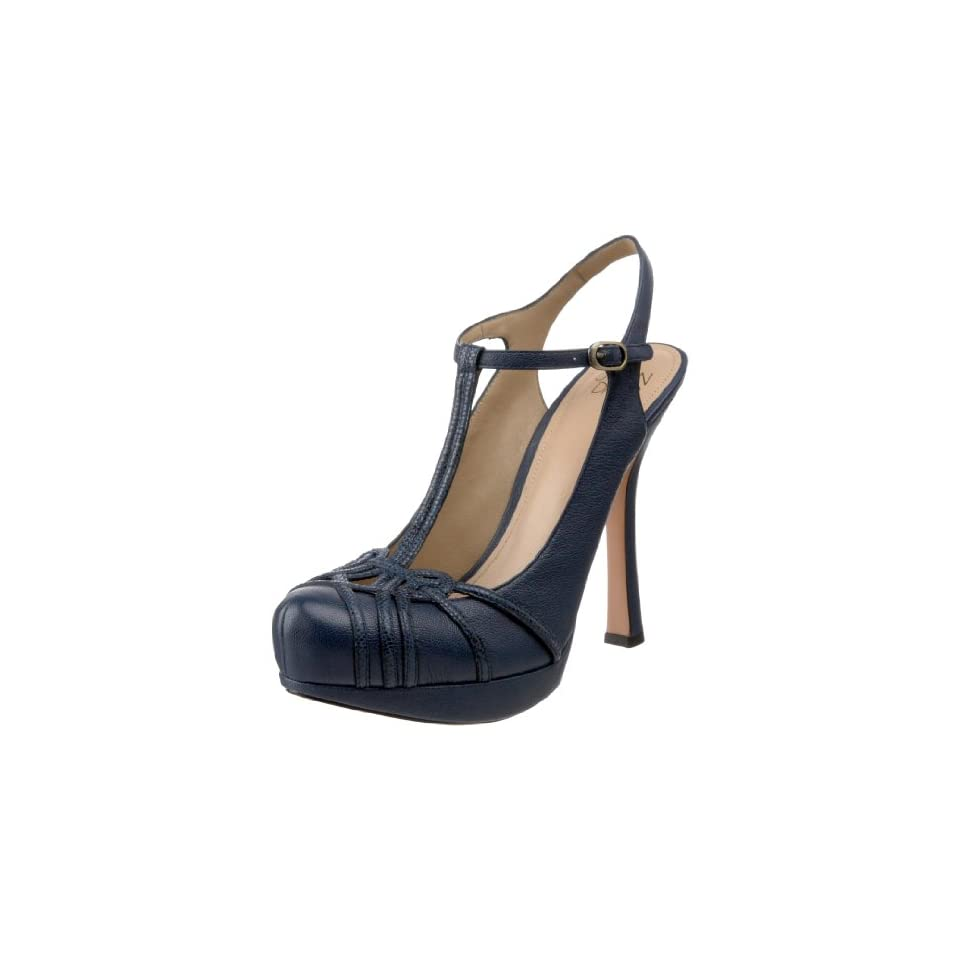 Joan & David Collection Womens Reith T Strap Pump,Dark Blue/Navy Leather,8.5 M US