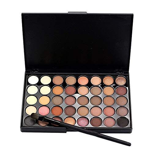 NiceWave 40 Colors Eye Shadow Palette Waterproof Cosmetic Matte Eyeshadow Cream Makeup Palette Shimmer Set with Fishtail Bottom Brush 1 Nice and Useful