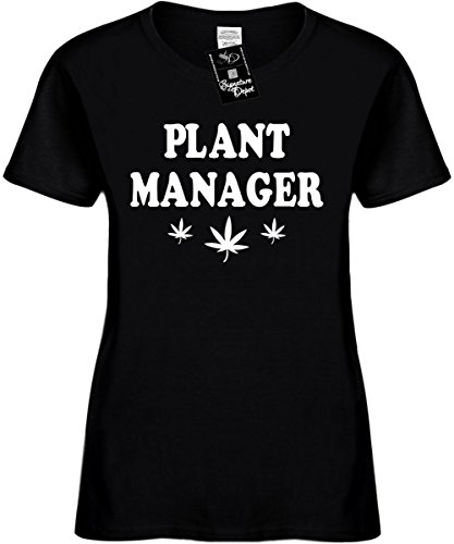 Signature Depot Women's Size L Funny T-Shirt (Plant Manager (with pot weed leaf) Ladies Shirt