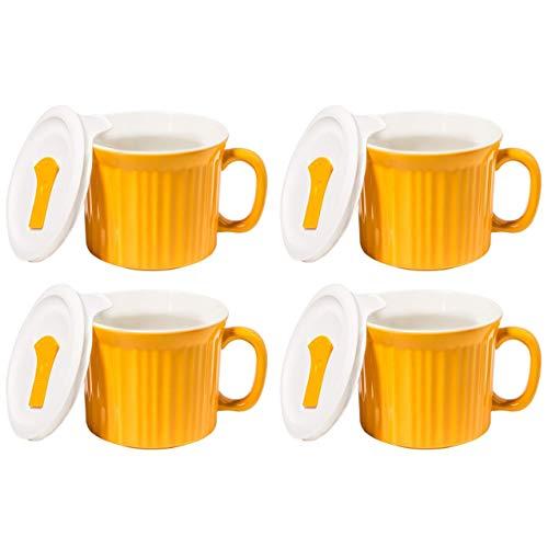 Corningware 20 Ounce Sunflower Yellow Meal Mug With Vented Lid - 4 Pack (Corningware Sunflower)
