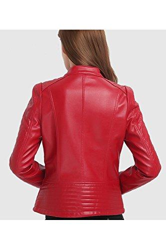Calida Stand Rojo Elegante Motero Chaqueta Delgado PU La Outwear Mujer Cremallera Cuello q0EEHR