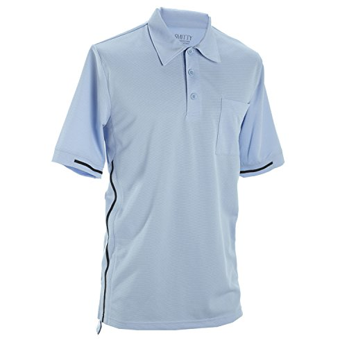 Adams USA Smitty Pro-Style Short Sleeve Umpire Shirt, Powder Blue with Navy Stripes, Medium