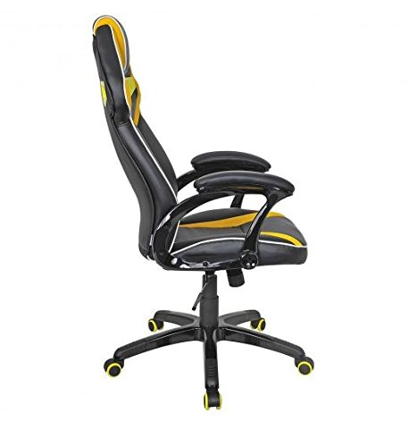 41aSWDGkHTL - MD-Group-Gaming-Chair-Racing-Bucket-Seat-Style-High-Back-Yellow-PU-Fabric-Mesh-Large-Load-Capacity