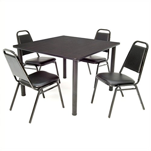 "Regency TB3030MWBPBK29BK Kee 30"" Square Break room Table & 4 Restaurant Stack Chairs, Mocha Walnut/Black"