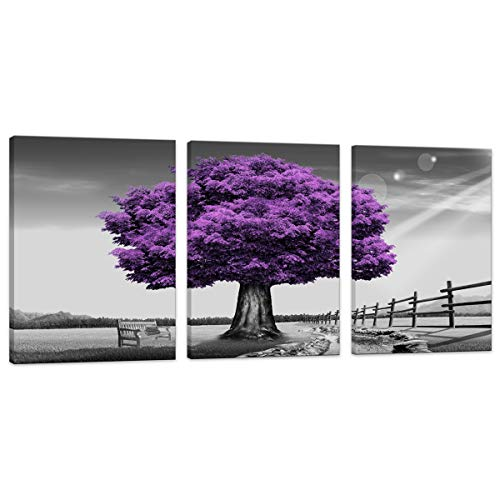 HUADAOART WSA0910 Canvas Prints Purple Tree Framed Canvas Wall Art for Home Decor Perfect 3 Panels Wall Purple Scenery Decorations for Living Room Bedroom Office Each Panel 12x16inch (Purple) -