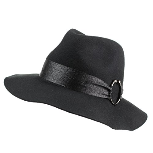 Home Prefer Chic Ladies Womens Woolen Winter Hat Black Fedora Hat with Band