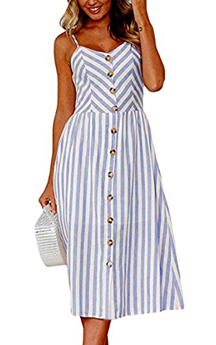 Angashion Women's Dresses-Summer Floral Bohemian Spaghetti Strap Button Down Swing Midi Dress with Pockets 0895 Blue S