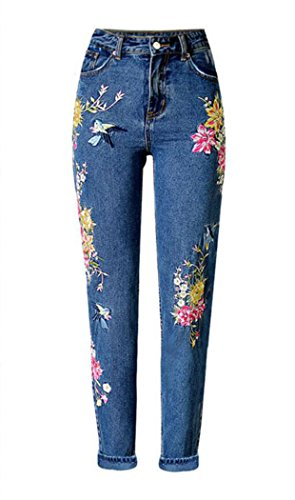 - Women's Hi Rise Embroidery Jeans Blue EU 38
