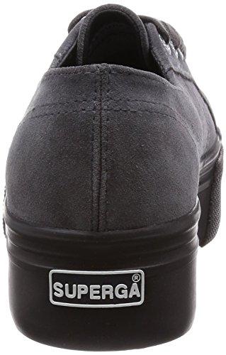Mujer F28 Sandalias grey Negro Plataforma Stone 2790 Con Superga suew Para w1xYSnBq