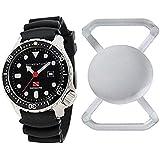 New St. Moritz Momentum M1 Torpedo Pro 44 Men's Dive Watch with Black Bezel, Black Hyper Rubber Band & FREE Watch Protector