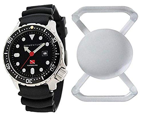 New St. Moritz Momentum M1 Torpedo Pro 44 Men's Dive Watch with Black Bezel, Black Hyper Rubber Band & FREE Watch Protector