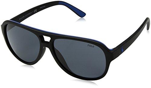 Polo Ralph Lauren Men's Injected Man Aviator Sunglasses, Matte Black Royal Blue R, 58 - Ralph Sunglasses Lauren Blue
