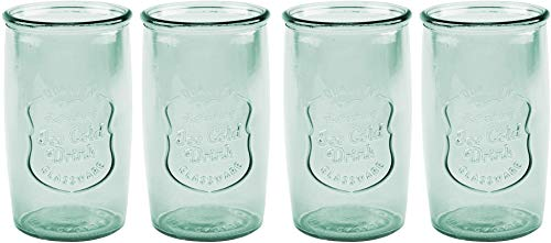 American Recreations Ice Cold Highball Set of four (4) Drink glasses (Recycled Green) (Recycled - Glass Green Recycled