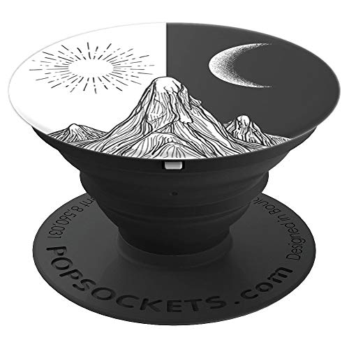 (Day & Night Mountain Peak Sun Moon - Detailed Graphic Design - PopSockets Grip and Stand for Phones and Tablets)