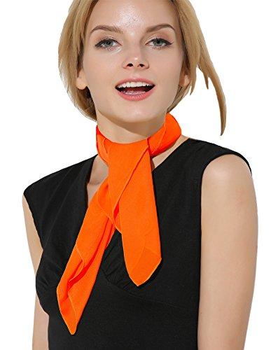 Orange Scarf Orange Bandana Vintage Scarf 50s Scarf Head Scarf for women]()