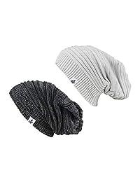 HOT FEET - Conjunto de 2 Gorros de Punto para Hombre y Mujer, Unisex, para Invierno