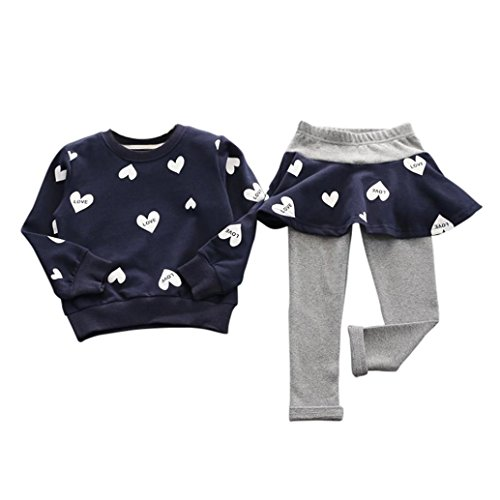 DDLBiz Kid Girl Love Heart Long Sleeve Shirt Sweater+Pants Skirt Sports Suit (Label Size:130(4-5years old), Navy)