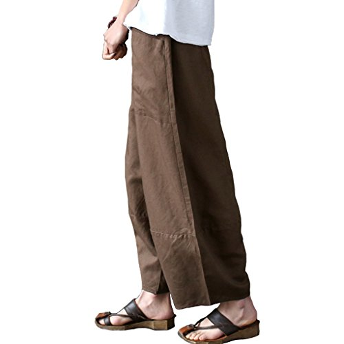 Haute Big Pantalons Jambes Unie Aeneontrue Marron Lin Ample Casual Coton Harem Taille Femme Avec Larges Poches Couleur Loose gqP4wZ
