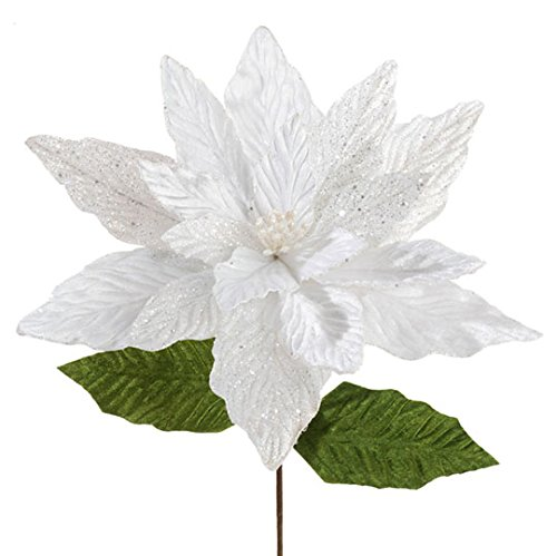 Large White Christmas Poinsettia Stem