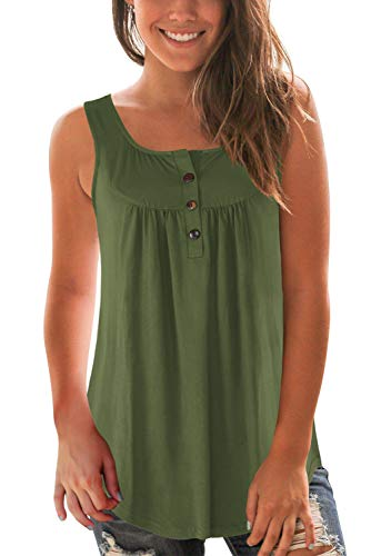 - Neitade Womens Tank Tops Summer V Neck Sleeveless Casual T Shirts Button Army Green L