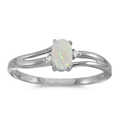 14k White Gold Oval Opal And Diamond Ring (Size 8.5) by Direct-Jewelry