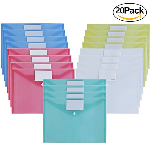 Ofilon File Envelopes, Pack of 20, 5 Color 12.5