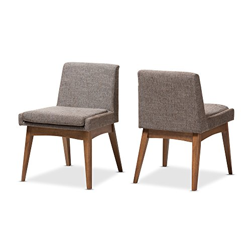 Baxton Studio Marie Walnut Wood Finishing Gravel Fabric Dining Side Chair Set of 2
