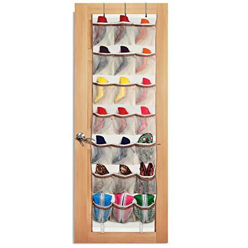 Smart Design Over-The-Door Organizer w/ 42 Pockets w/ Elastic Trim & Steel Hooks - VentilAir Mesh Fabric - for Shoes, Toiletries, & Misc. Item - Home Organization (21 x 73 Inch) [Beige]