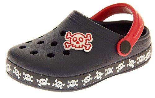 Skull Baby Sandal - De Fonseca Boys Girls Kids Navy Blue - Pirate / Skull & Crossbones Summer Beach Clog Sandals US 9 Infant