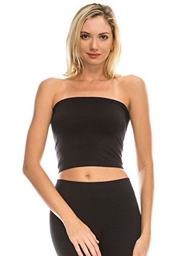 - Kurve Medium Length Bandeau Bra Top - UV Protective Fabric UPF 50+ (Made with Love in The USA) Black