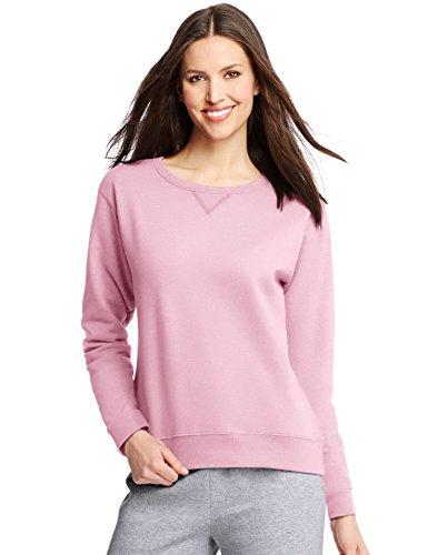 Hanes ComfortSoft EcoSmart Women's Crewneck Sweatshirt_Pale Pink_L