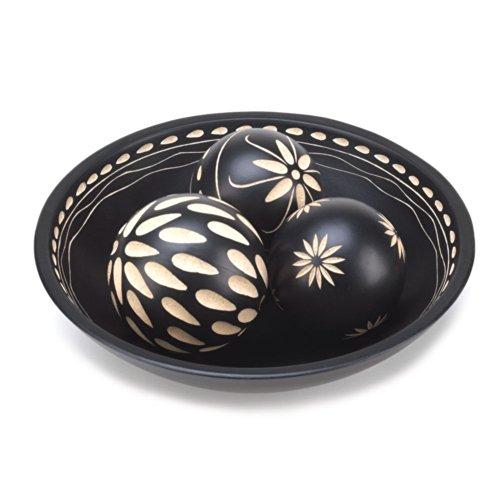 DECORATIVE BOWLS: Ebony Black Balls and Round Bowl (Ebony Ball)