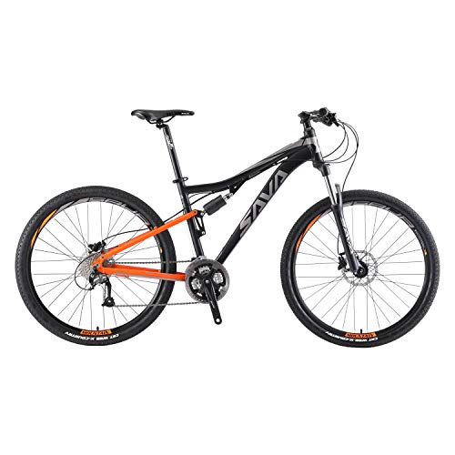 SAVADECK Dual Suspension Mountain Bike, 27.5 Full Suspension Aluminum Alloy Mountain Bicycle 27 Speed MTB with M2000 Group Set