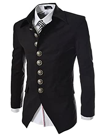 737 THELEES Mens Luxury UNIQUE Style Slim fit 8 Button Front Blazer Jacket BLACK US XS(Tag size M)