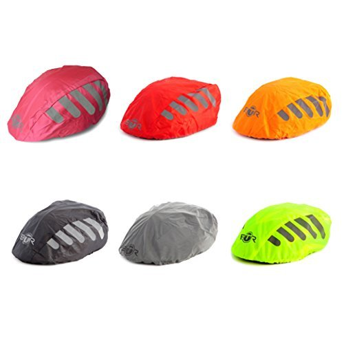 Bike Helmet Cover - BTR High Visibility YELLOW Universal Size Bike / Bicycle Waterproof Helmet Cover With Reflective Stripes - One Size Fits All
