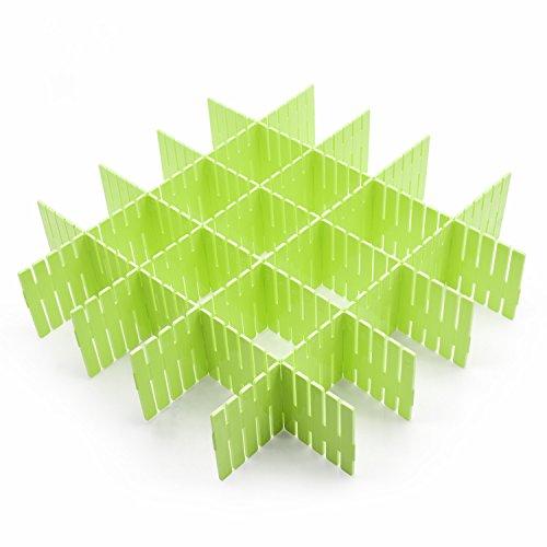 8pcs DIY Plastic Grid Drawer Divider Household Storage ShineMeThickening Housing Spacer Sub-grid Finishing Shelves for Home Tidy Closet Stationary Makeup Socks Underwear Scarves Organizer (green)