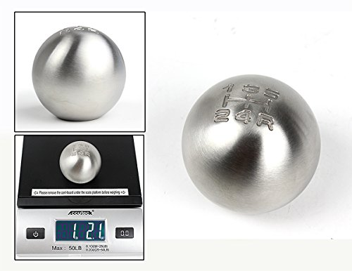 Cuztom Tuning Brushed Finish Heavy Weighted Round Ball Shape Stainless Steel 5 Speed Manual Shift Shifter Knob