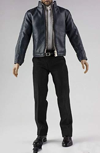 Amazon.com: 1/6 macho ropa negro cuero chaqueta y zapatos ...