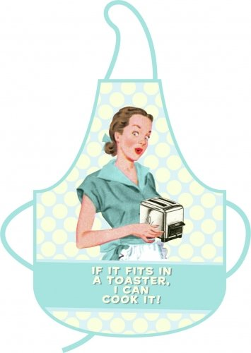 50's Retro Style Housewife Humor - Cooking Apron (If It Fits In A Toaster, I Can Cook It)