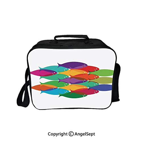 (Multifunctional Lunch Bags for Women Wide Open,Digital Nested Fish Shoal Cluster Icon Deep Teamwork Symbol Artisan Print Multi 8.3inch,Lunch Box With Double Deck Cooler Tote Bag)