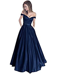 440a78fa4bda3 Off The Shoulder Beaded Satin Evening Prom Dress with Pocket